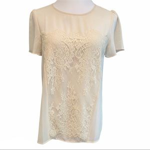Petticoat Alley Tan Lace Front Button Back Top